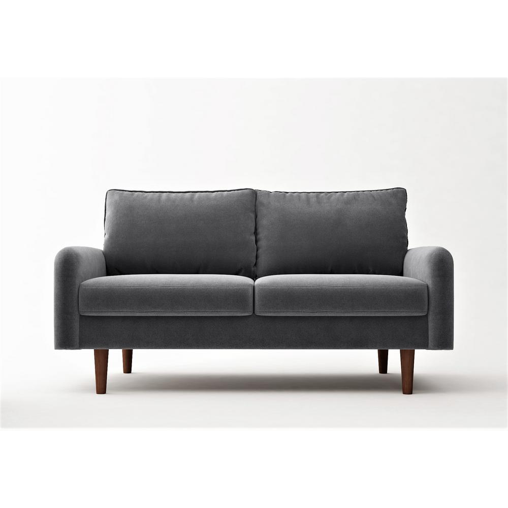 Vivo 57.8 in. Grey Velvet 2-Seater Loveseat with Removable Cushions