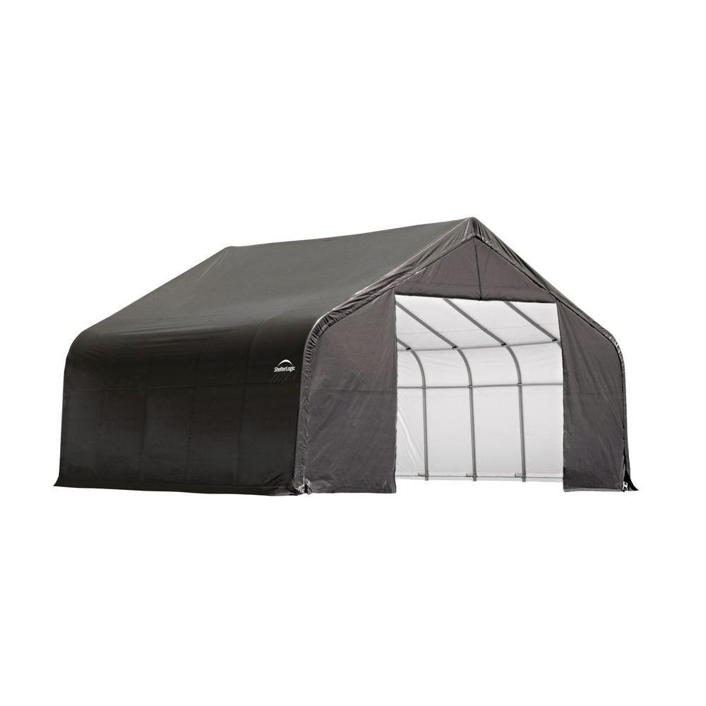 ShelterLogic 26 ft. x 20 ft. x 12 ft. Grey Cover Peak Style Shelter - DISCONTINUED