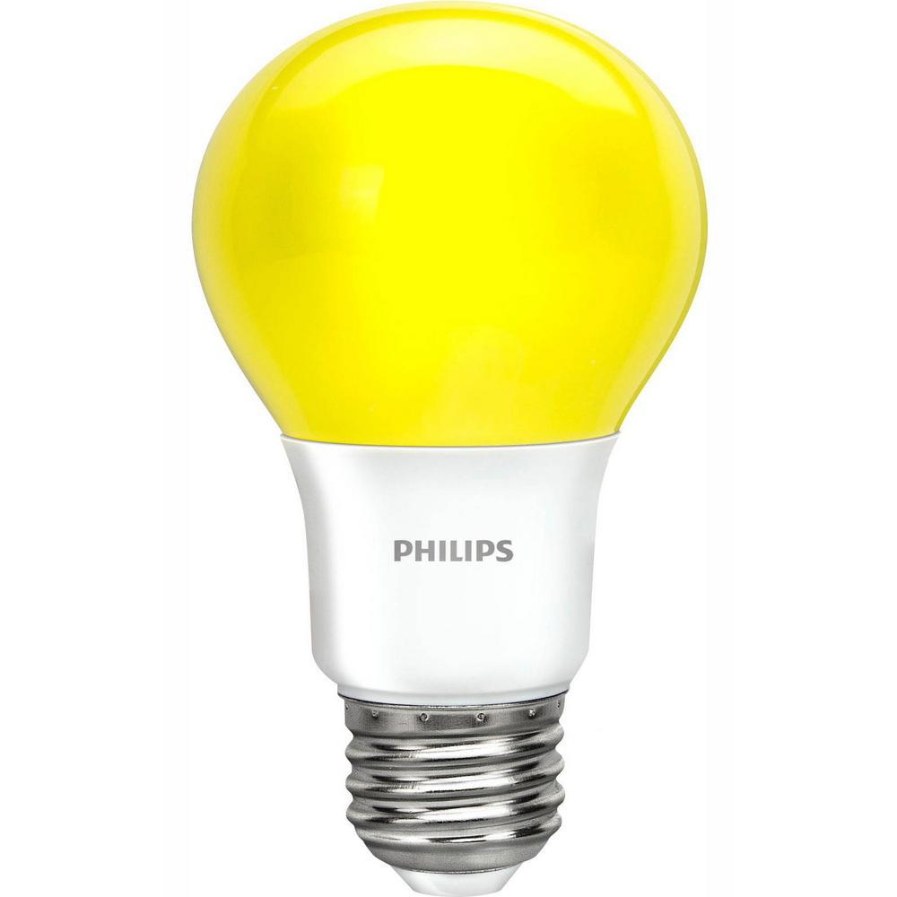 Philips 60-Watt Equivalent A19 Non-Dimmable Yellow LED Bug Light Bulb