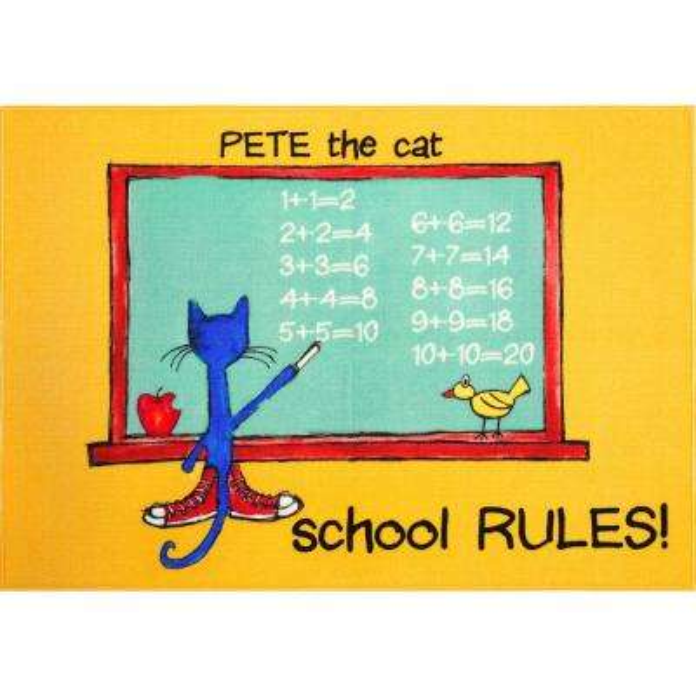 Pete The Cat Elementary School Rules Multi 35.4 in. x 51 in. Indoor Area Rug