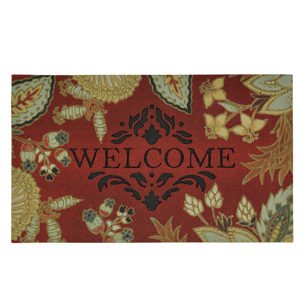 Rubber Backed Bath Rug Floral Print