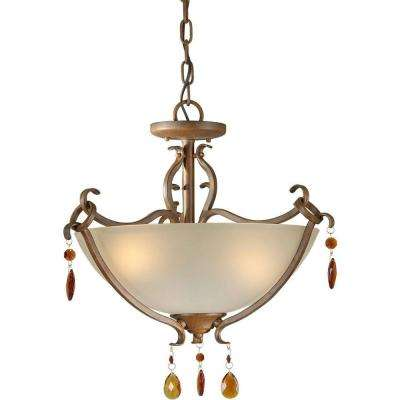 3-Light Rustic Sienna Semi-Flush Mount Light with Shaded Umber Glass
