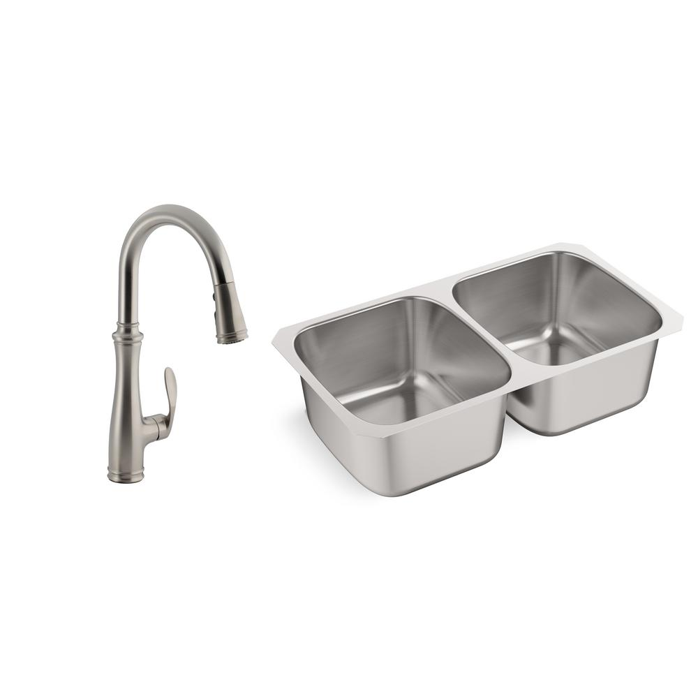 KOHLER Ballad All-in-One Undermount Stainless Steel 31.5 in. Double Bowl  Kitchen Sink with Bellera Kitchen Faucet
