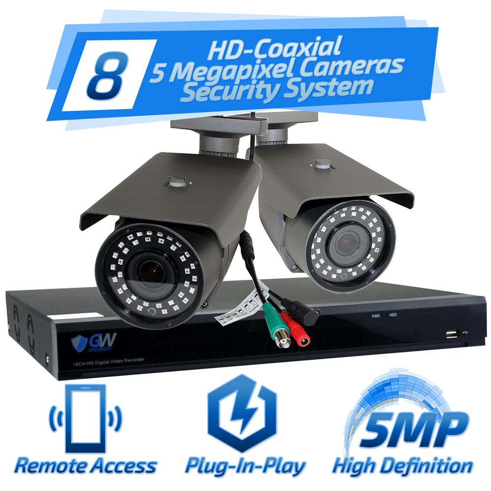 8-Channel HD-Coaxial Security System with 8x GW561HD 5-MP Cameras 3.3 mm