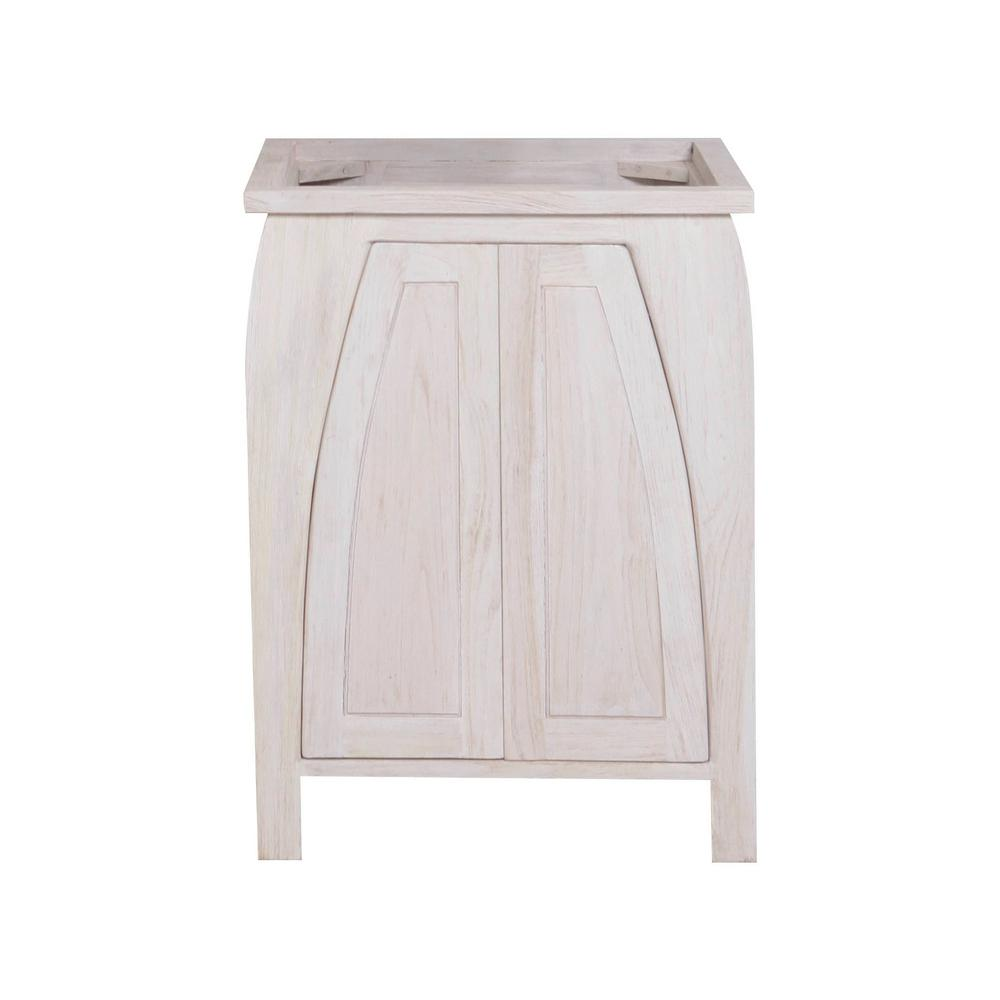 Coastal Vogue Tranquility 24 In W Teak Vanity Bath Cabinet Only In Driftwood Tr Bt 24 5 The
