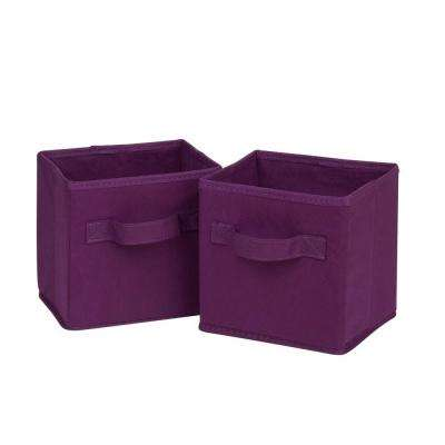 4.9 Qt. Mini Non-Woven Foldable Cube Bin in Purple (6-Pack)