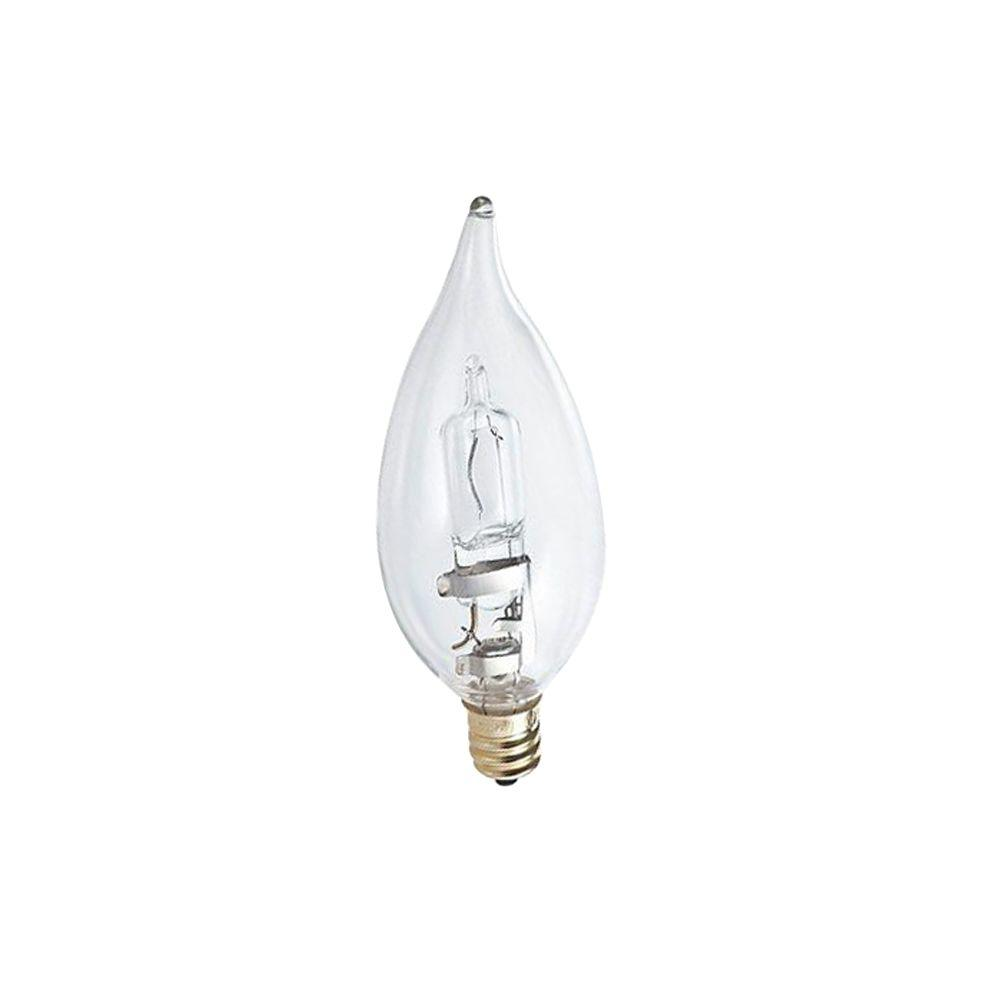 Philips 60W Equivalent Halogen BA9 Bent Tip Candle Light Bulb (2-Pack)