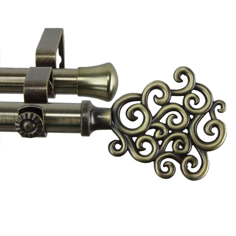Rod Desyne 48 in. - 84 in. Double Telescoping Curtain Rod in Antique Brass with Tidal Finial