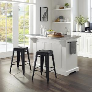 CROSLEY FURNITURE Julia White Kitchen Island with Stools ...