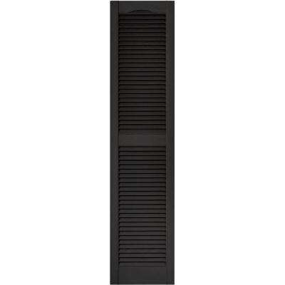 15 in. x 64 in. Louvered Vinyl Exterior Shutters Pair in #002 Black