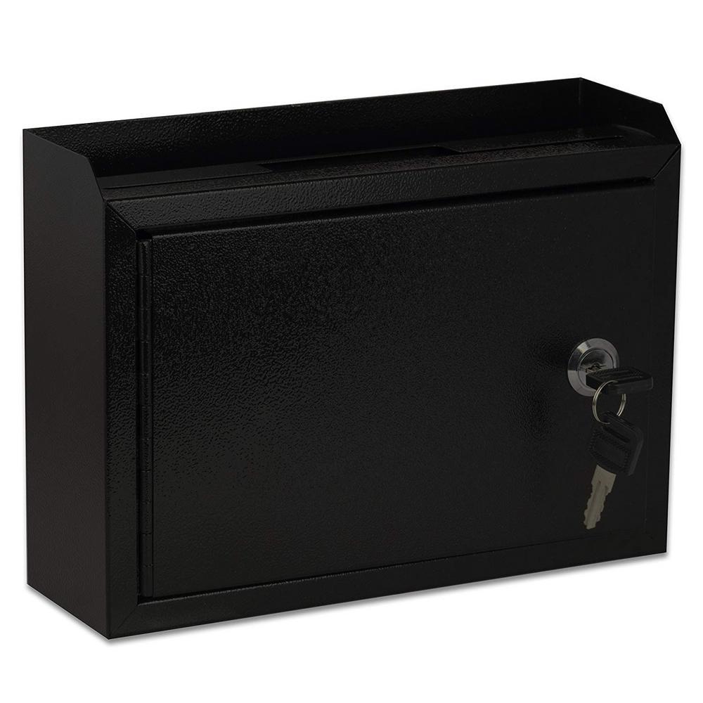 AdirOffice Medium Size Black Steel Multi-Purpose Suggestion Drop Box