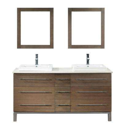 Ginza 63 in. Vanity in Smoked Ash with Nougat Quartz Vanity Top in Smoked Ash and Mirror