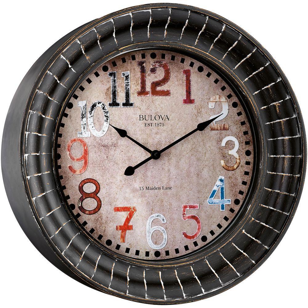 BULOVA 17.75 in. H X 17.75 in. W Round Wall Clock, Browns...