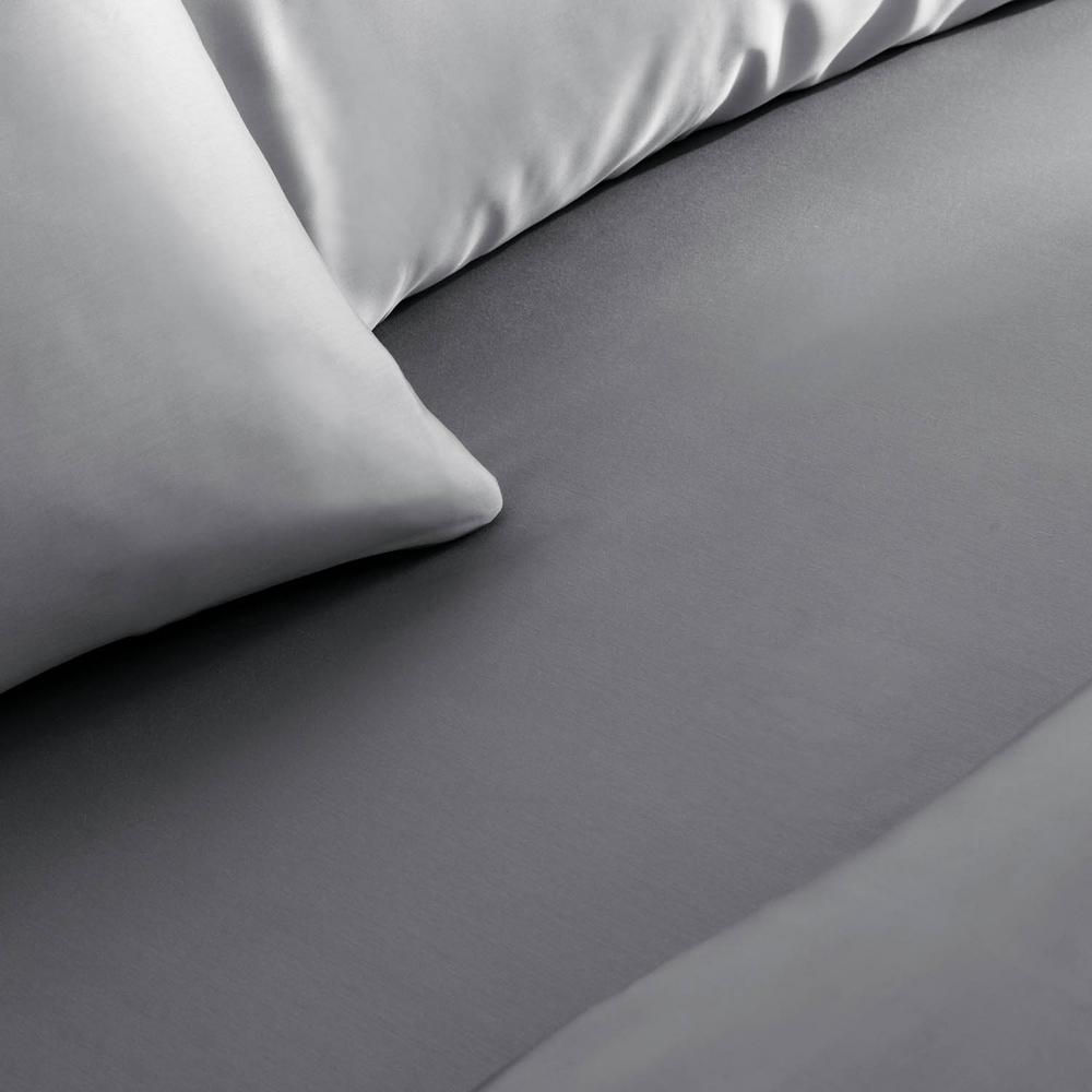 Extra Pocket 5 Piece Split Sheet set 1000TC Pima Cotton All Size Dark Grey Strip