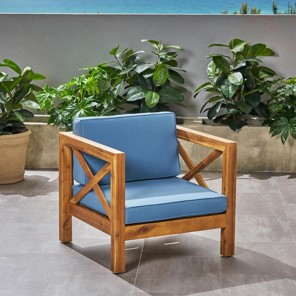 Noble House Brava Teak Brown Removable Cushions Wood Outdoor Lounge Chair With Blue Cushions 65867 The Home Depot