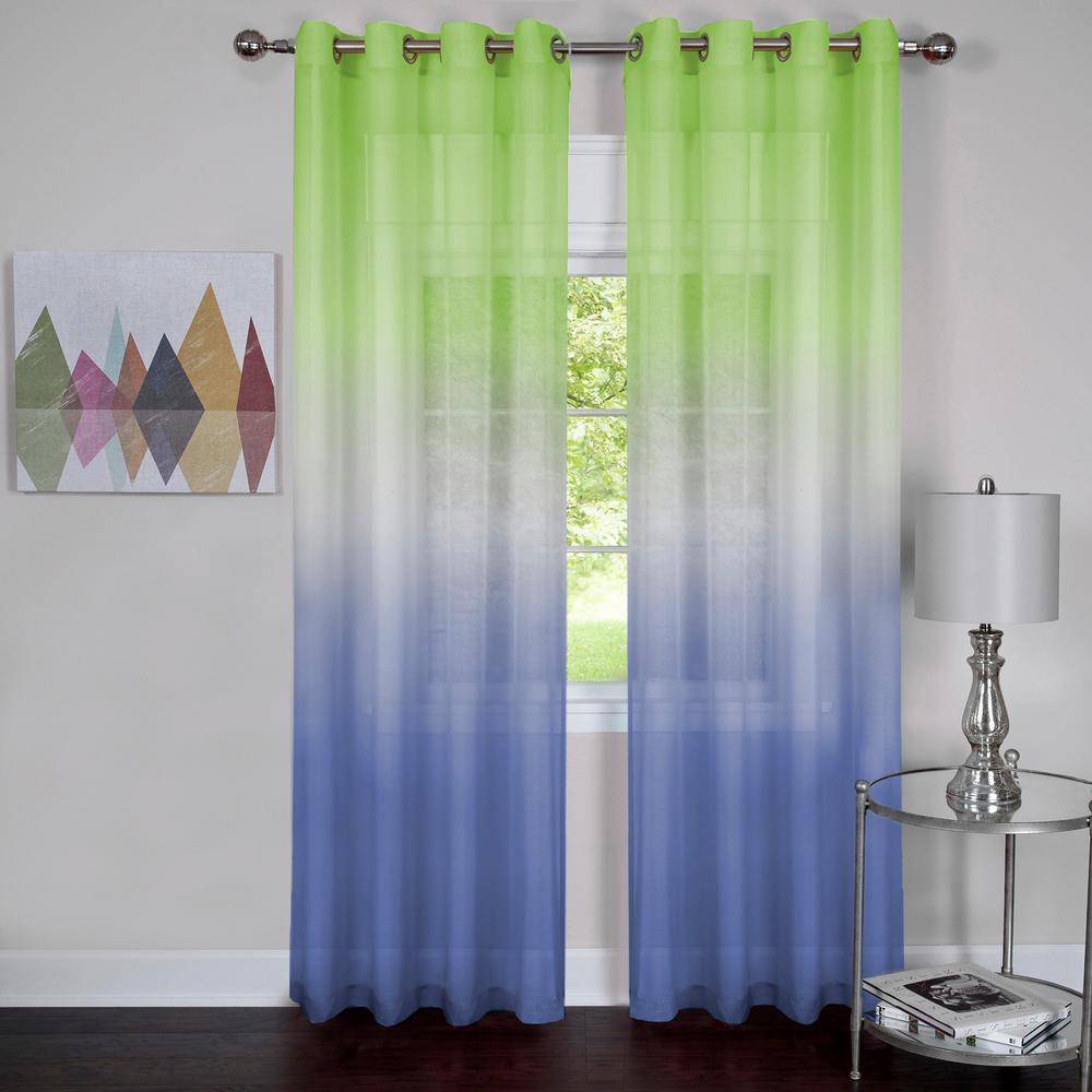 Sheer Rainbow 63 in. L Single Grommet Window Curtain Panel in Green