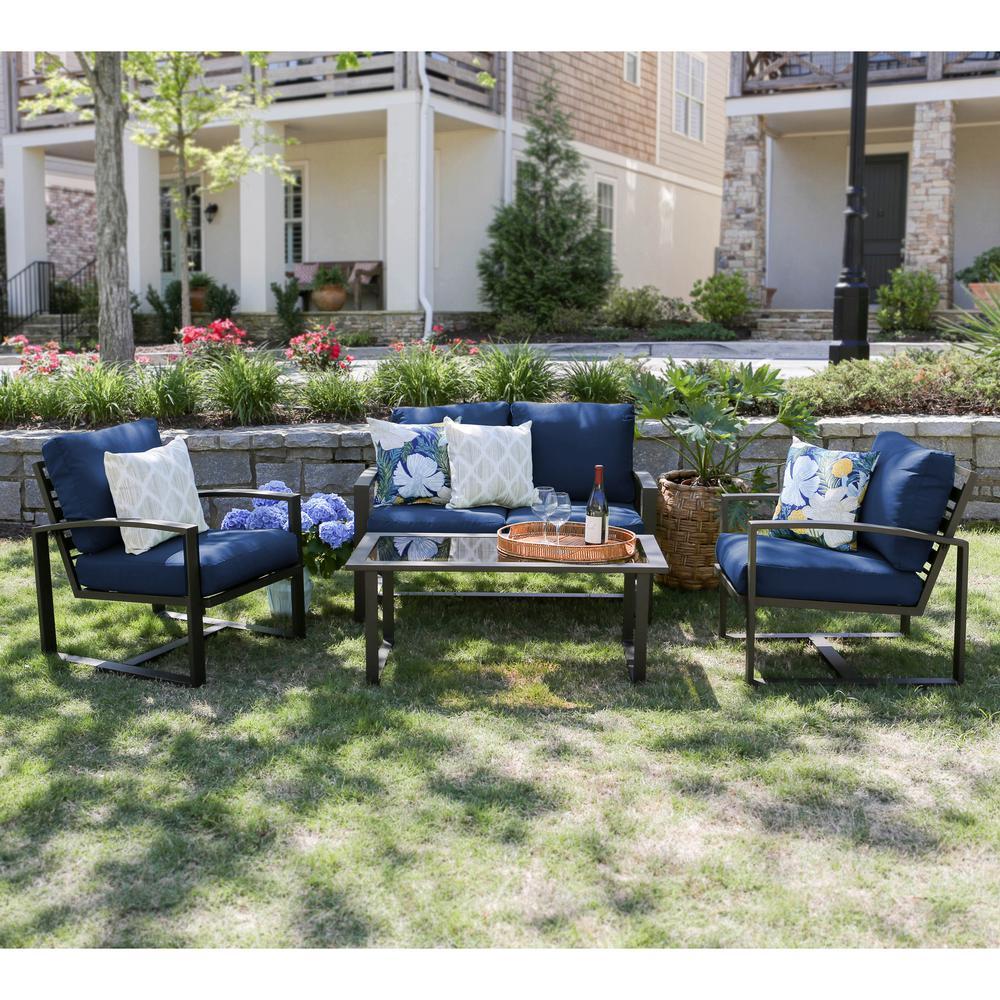 Jasper 4-Piece Aluminum Patio Conversation Set with Navy Cushions