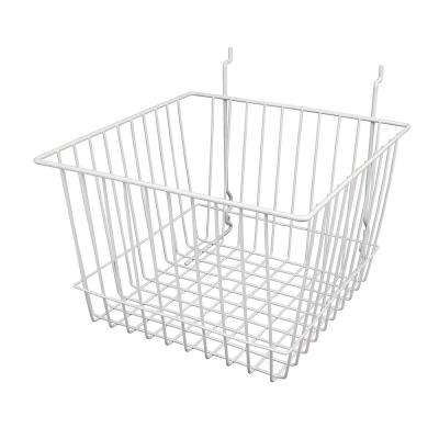 12 in. W x 12 in. D x 8 in. H White Deep Basket