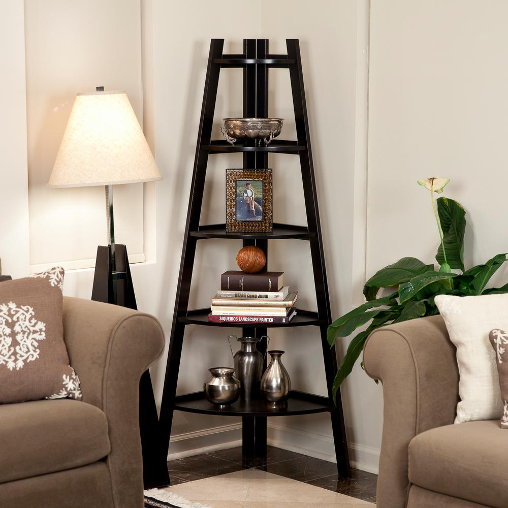 DANYA B 63 in. Espresso Finish 5-Tier Corner Ladder Display Bookshelf
