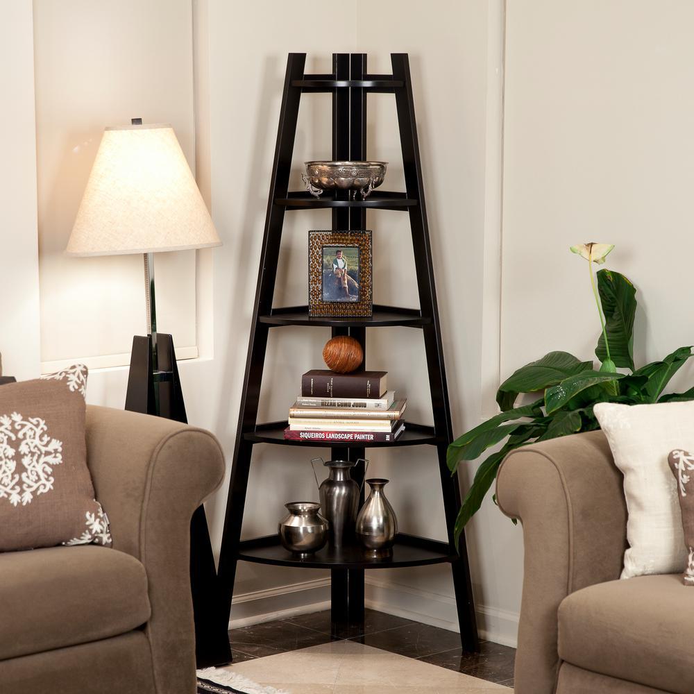 63 in. Espresso Finish 5-Tier Corner Ladder Display Bookshelf