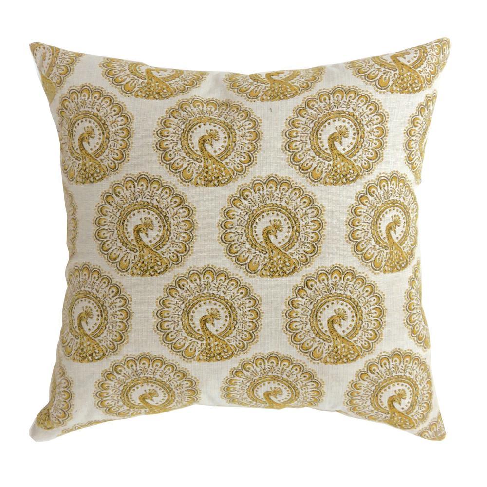 Fifi Yellow Geometric Polyester 18 in. x 18 in. Throw Pillow