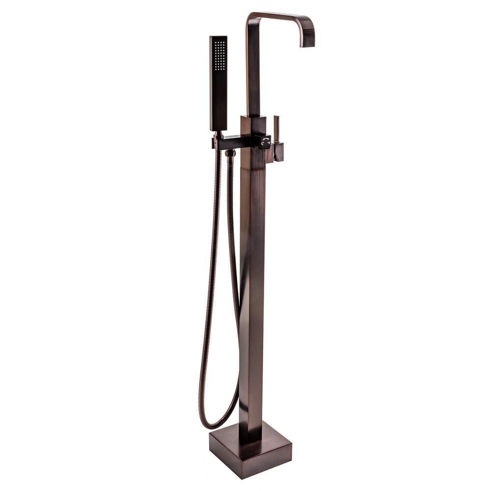 1-Handle Freestanding Floor Mount Roman Tub Faucet Bathtub Filler with Hand Shower in Antique Bronze