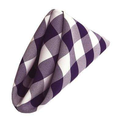 18 in. x 18 in. White and Purple Gingham Checkered Napkins (Pack of 10)