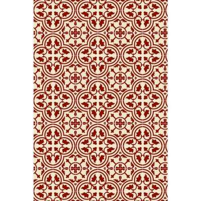 Quad European Design  2ft x 3ft red & white Indoor/Outdoor vinyl rug.