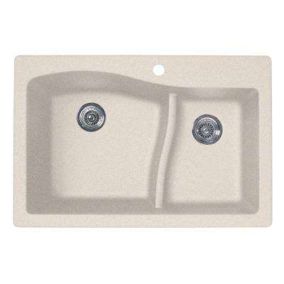 Drop-In/Undermount Granite 33 in. 1-Hole 60/40 Double Bowl Kitchen Sink in Granito
