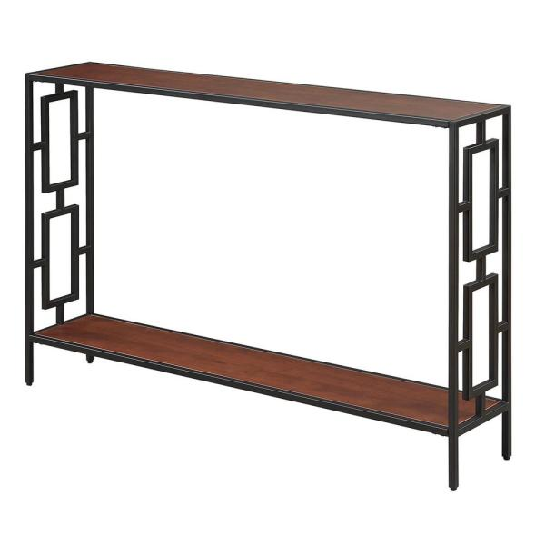 Convenience Concepts Town Square Cherry and Black Metal Console Table R4-0283