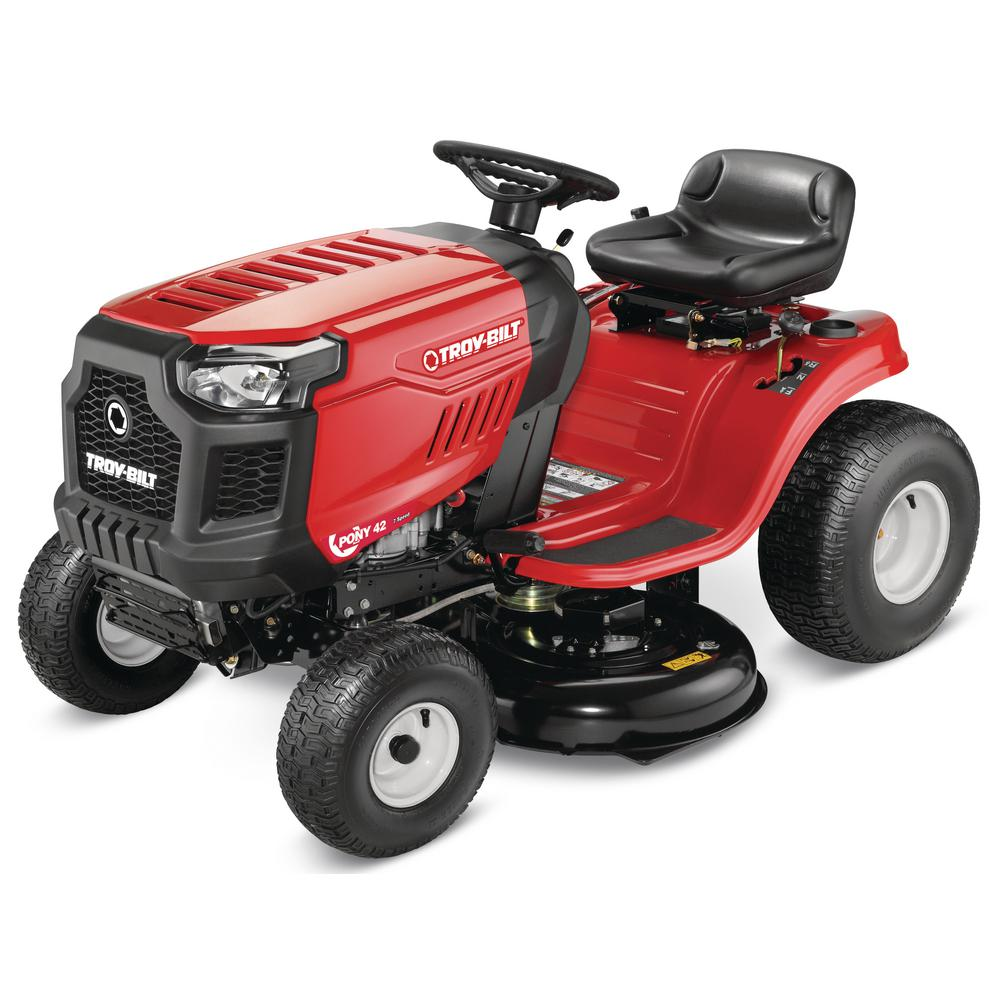 Troy-Bilt Pony 42 in  17 5 hp Manual Drive Briggs & Stratton Gas Lawn  Tractor with 7 speeds, Mow in Reverse (California Compliant)