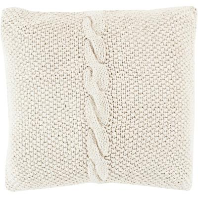 Anaco Khaki Solid Polyester 20 in. x 20 in. Throw Pillow