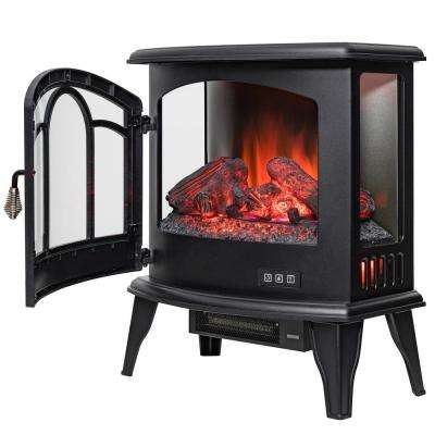 20 in. Freestanding Electric Fireplace Stove Heater in Black with Remote