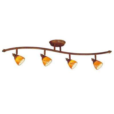 4-Light Walnut Ceiling Wave Bar Fixture with Art Glass Shades