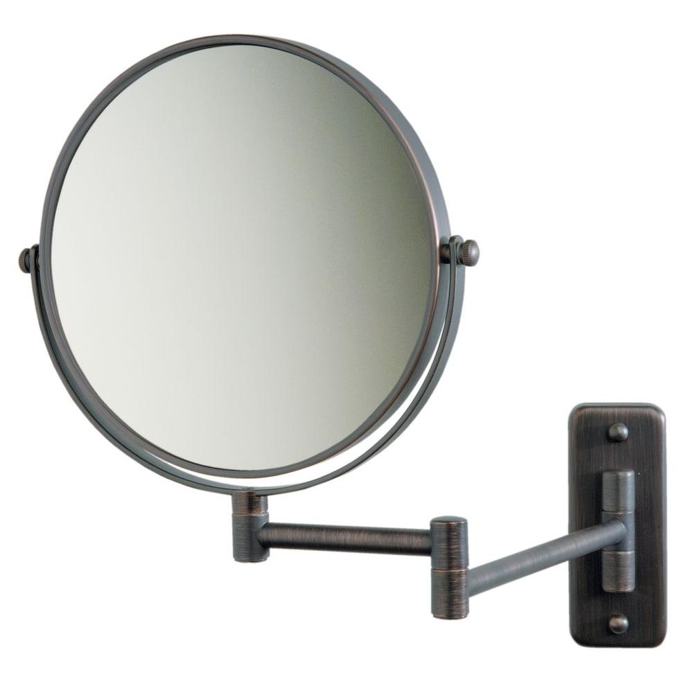 Jerdon 5X 12 in. L x10 in. W Wall Mount Makeup Mirror in Bronze