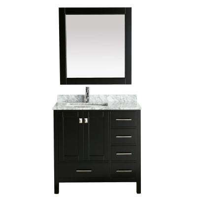 London 36 in. W x 22 in. D Vanity in Espresso with Marble Vanity Top in Carrara White with White Basin and Mirror