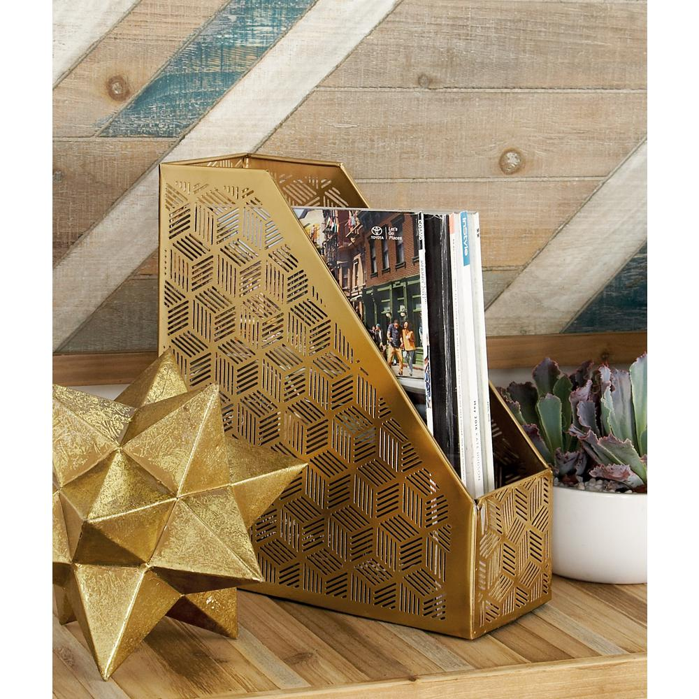 Gold Geometric Lattice-Designed Freestanding Box Magazine Holder