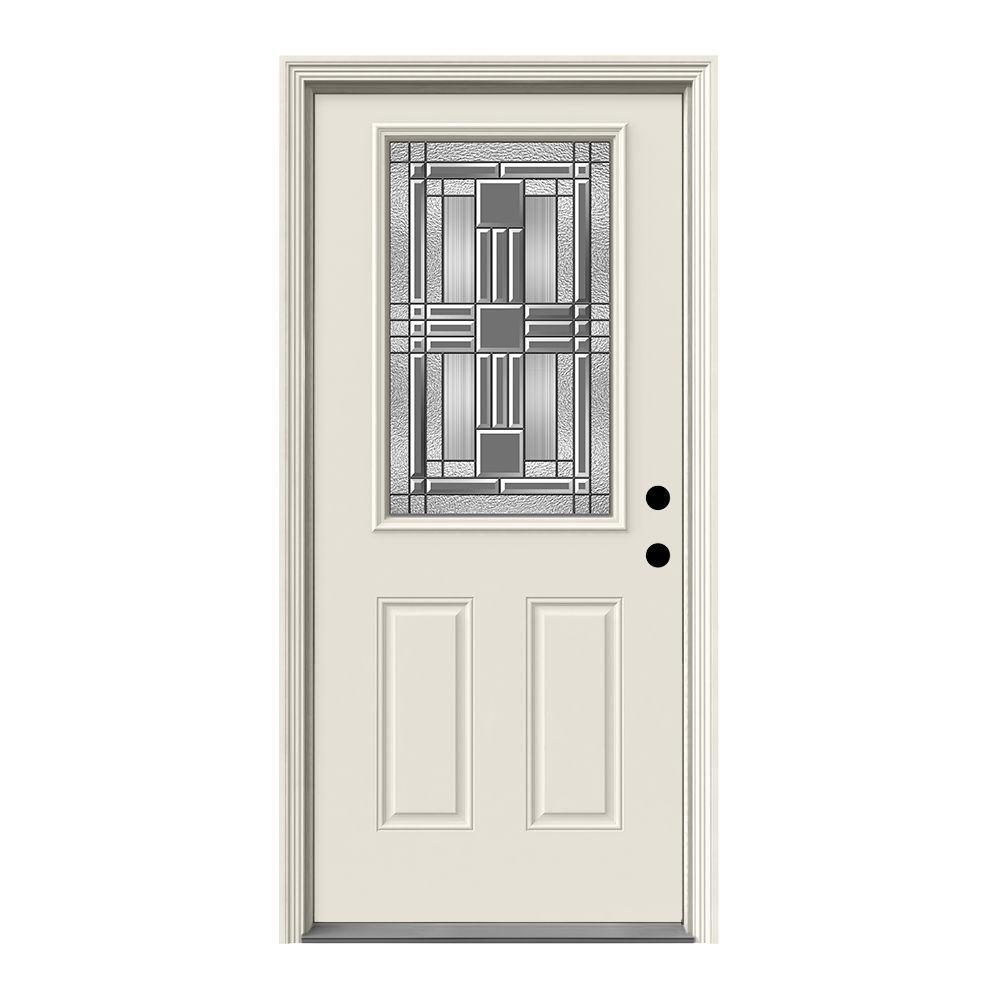 jeld wen 36 in x 80 in 1 2 lite cordova primed steel prehung left hand inswing front door w. Black Bedroom Furniture Sets. Home Design Ideas