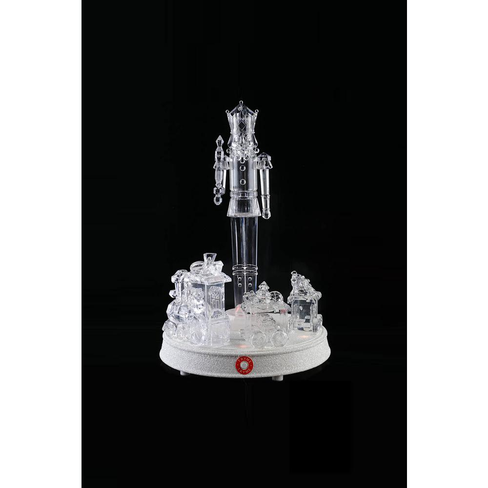 13 in. Crystalline Nutcracker With Turning Train and LED Illumination