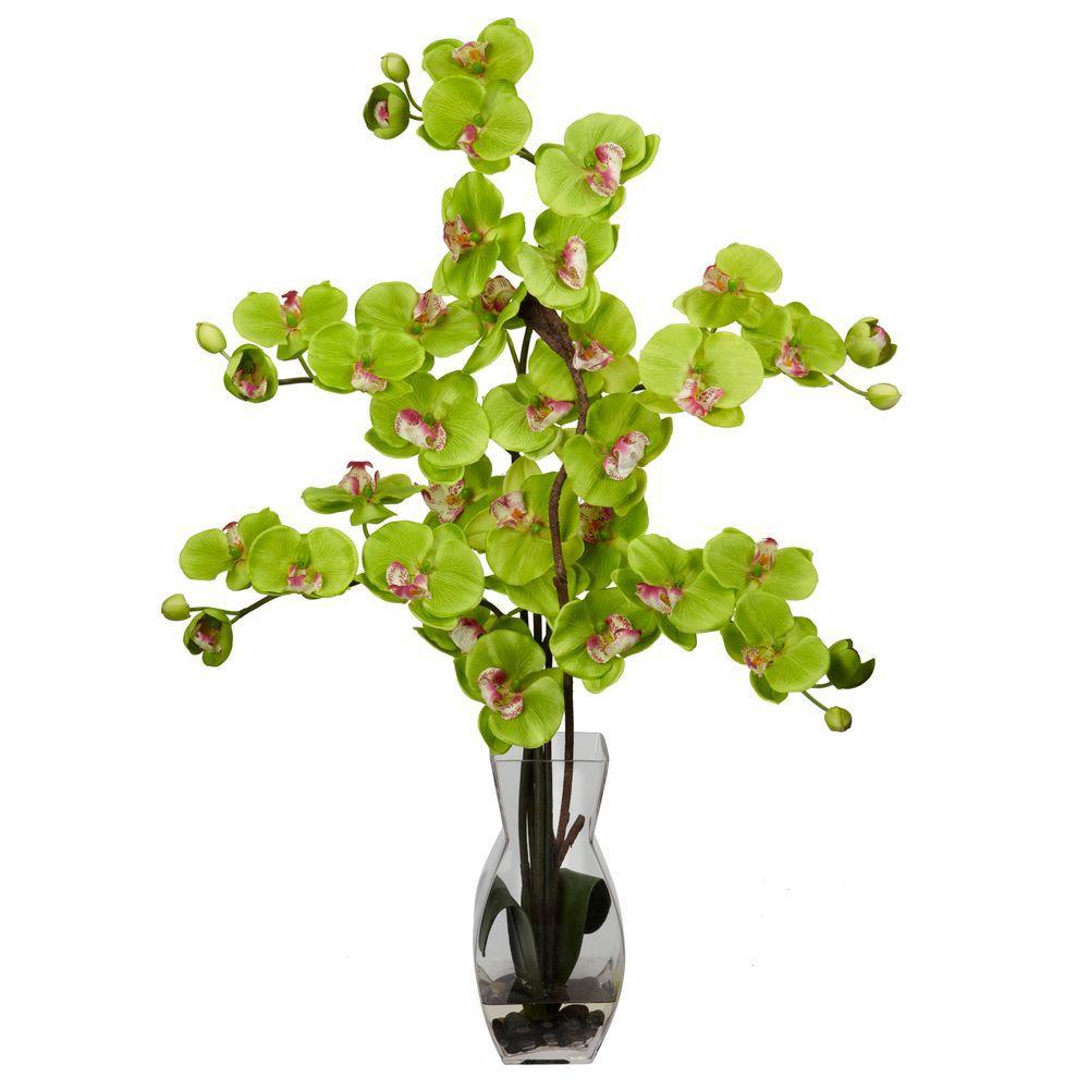 29 in. H Green Phalaenopsis with Vase Silk Flower Arrangement