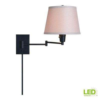 1-Light Oil Rubbed Bronze Swing Arm Lamp with Fabric Shade with LED Bulb