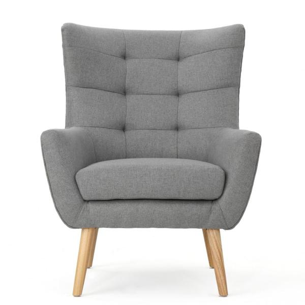 Tamsin Mid-Century Modern Tufted Back Gray Fabric Club Chair