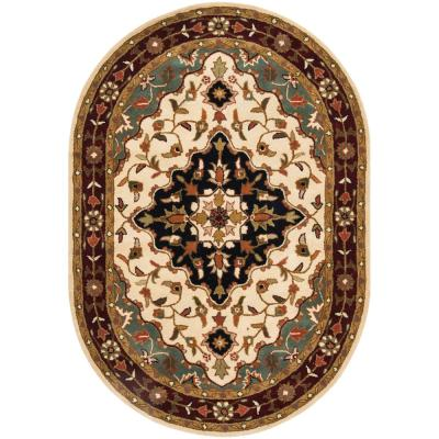 Heritage Ivory/Red 5 ft. x 7 ft. Oval Area Rug