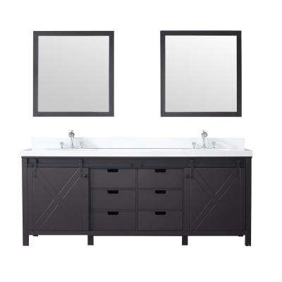 Marsyas 84 in. Double Bath Vanity in Brown w/ White Quartz Top w/ White Square Sinks and 34 in. Mirrors
