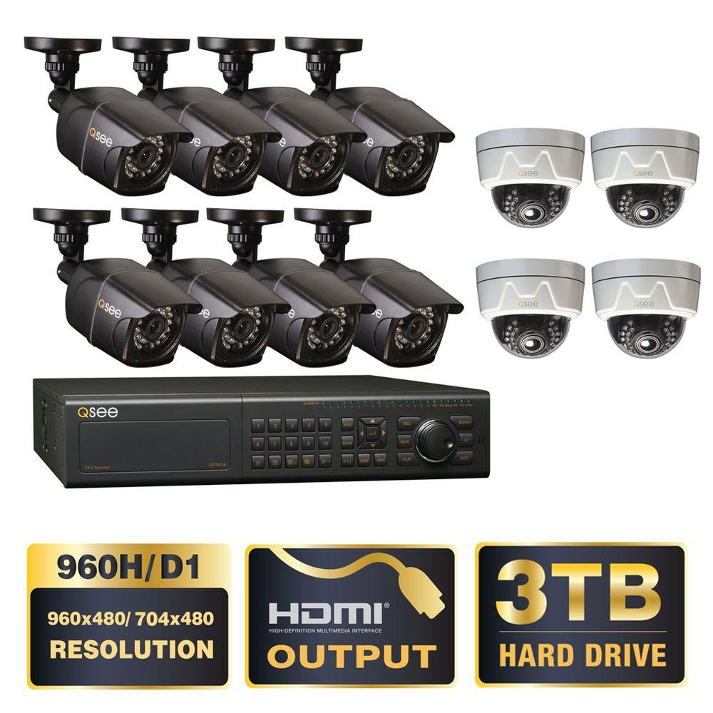 Q-SEE Elite Series 24-Channel 960H 3TB DVR with (8) Bullet 960H Cameras and (4) Dome 650TVL Effio Indoor/Outdoor Cameras
