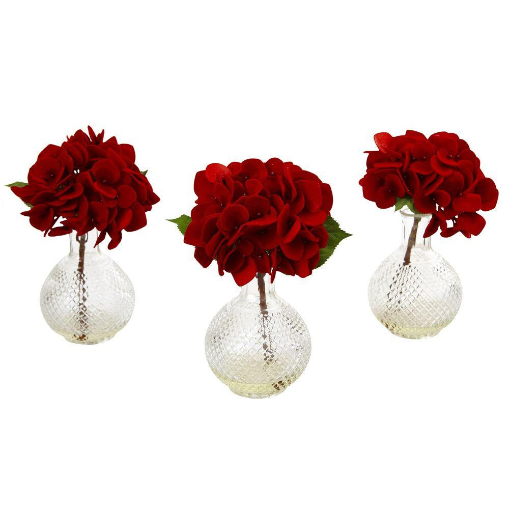 Nearly natural 12 in red hydrangea with glass vase set of 3 red hydrangea with glass vase set of 3 reviewsmspy
