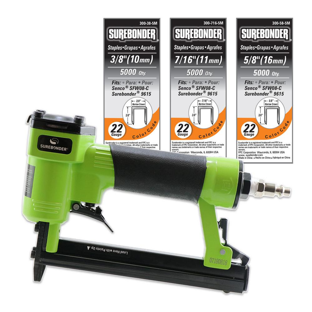 Surebonder Pneumatic Upholstery Stapler with 22-Gauge Upholstery Staples  (3/8 in , 7/16 in  and 5/8 in )