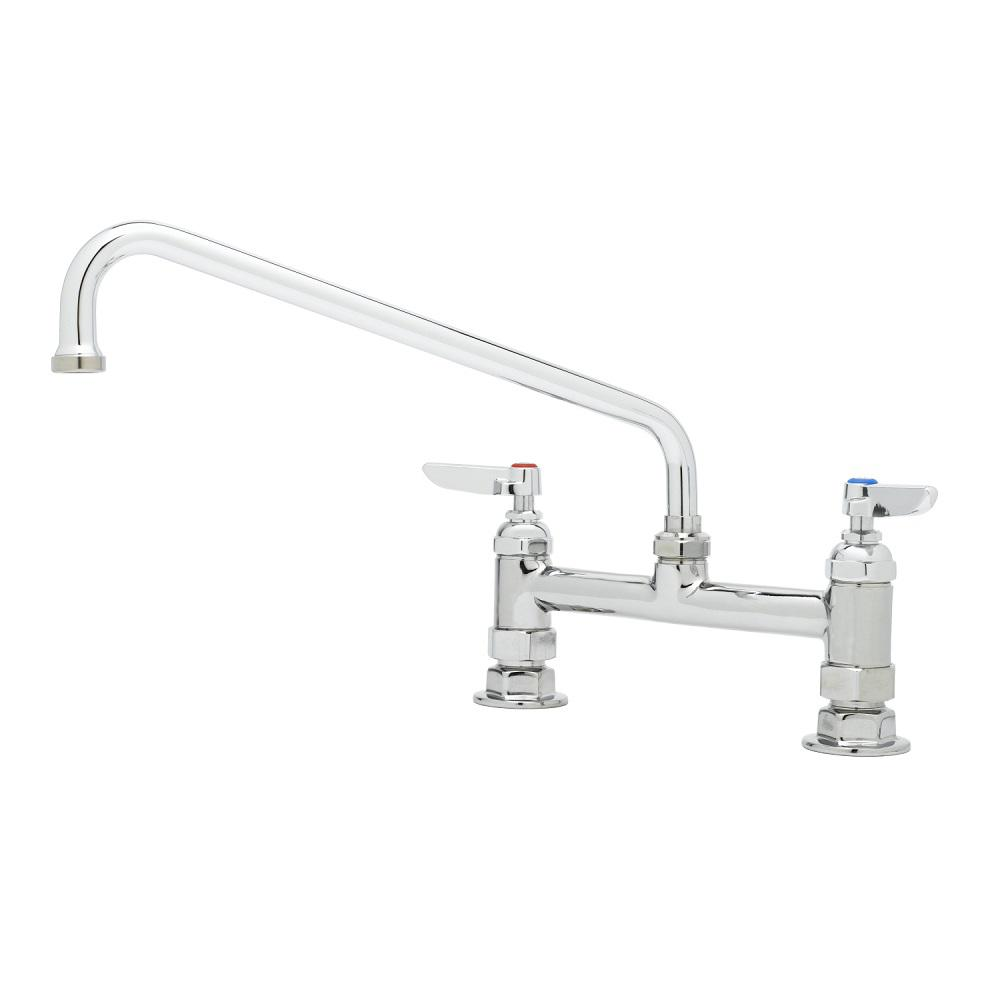 T&S BRASS 2-Handle Standard Kitchen Faucet in Polished Chrome