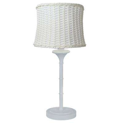 25.25 in. H White Outdoor/Indoor Table Lamp with Basketweave Shade