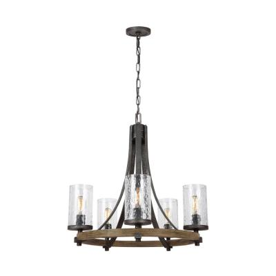 Angelo 24 in. W. 5-Light  Distressed Weathered Oak and Slate Grey Metal Chandelier with Clear Thick Wavy Glass